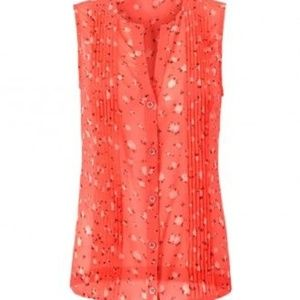 CAbi Pintuck Blouse Sleeveless Coral #5350